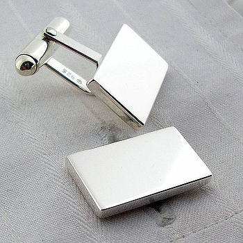 Silver Solid Rectangle Swivel Cufflinks