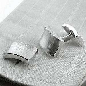 Silver Frosted Concave Cufflinks - cufflinks