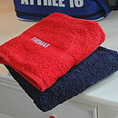 Towels, top: red, bottom: navy