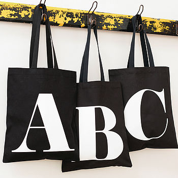 Black Cotton Initial Tote Bag