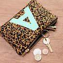 Initial Leopard Print Pouch