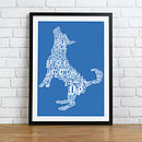 Typographic Dog Print - Blue & White