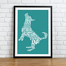 Framed Typographic Dog Shape Print