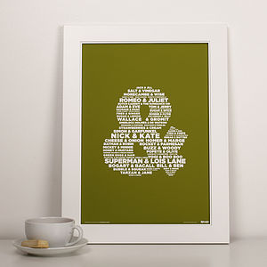 Personalised 'Pairs' Print - wedding gifts