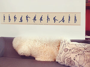 Silly Walks Cross Stitch Fabric Wall Sticker - painting & decorating