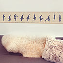 Silly Walks Cross Stitch Fabric Wall Sticker