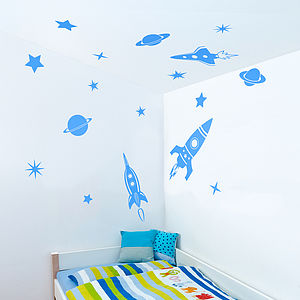 Space Rockets Wall Sticker Set - decorative accessories