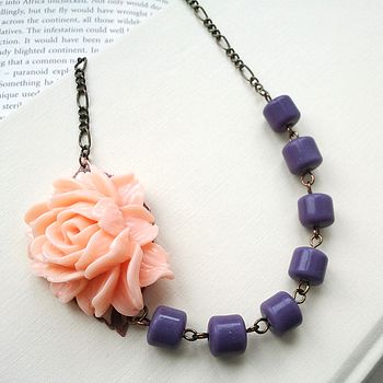 Flower Necklace with Peach Rose and Purple Vintage Beads