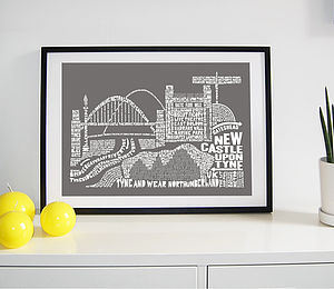Newcastle Skyline Typography Print - personalised