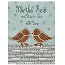 Personalised Birth Date Dickie Birds Print