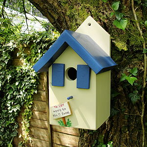 Personalised Handcrafted Blue Bird House - bird houses