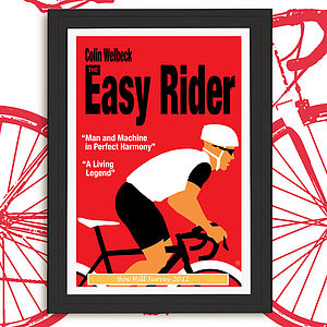 Personalised The Easy Rider Cycling Print - gifts for cyclists