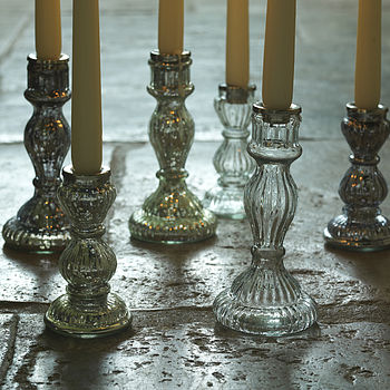 Antiqued Recycled Glass Candlesticks