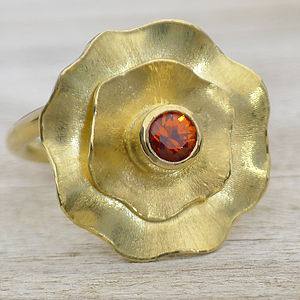 Handmade Spessartite Flower Ring In 18ct Gold - women's jewellery