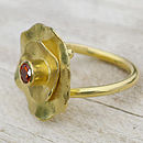 Handmade Spessartite Flower Ring In 18ct Gold