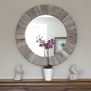 Round Wooden Mirror - decorative accessories