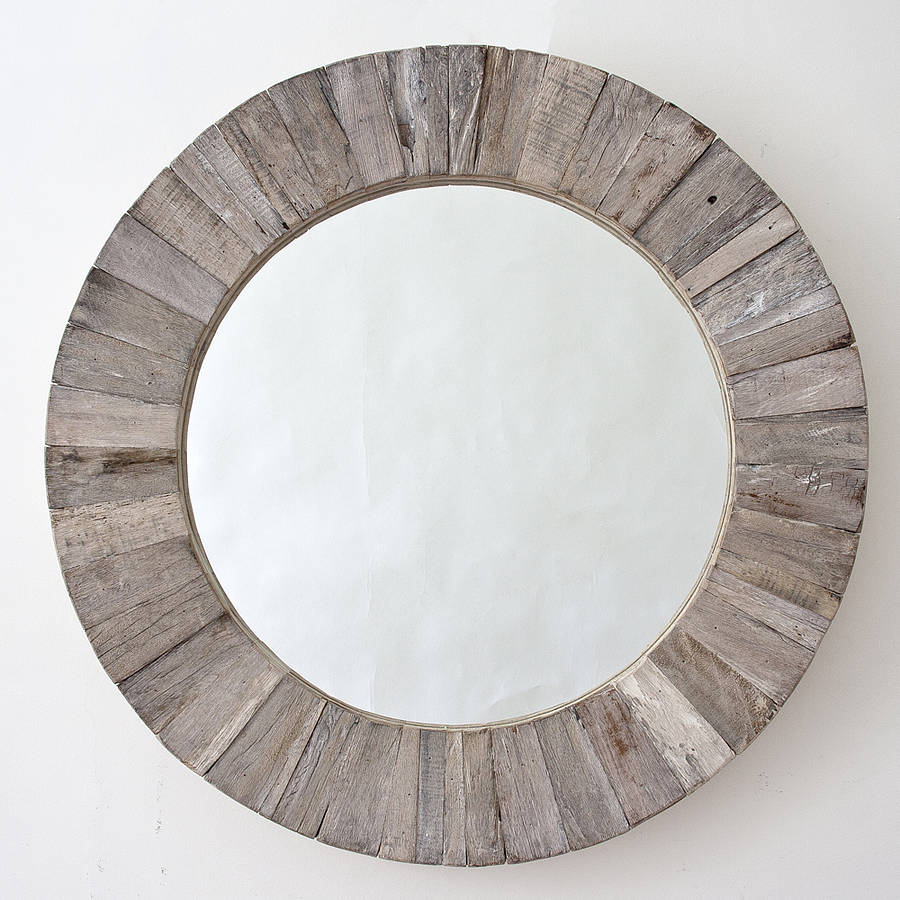 Round wooden mirror by decorative mirrors online Round framed mirror
