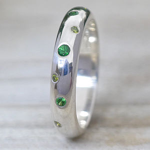 Handmade Diamond & Tsavorite Ring - wedding jewellery