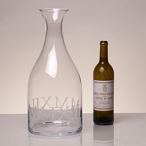Extra Large Glass Carafe Engraved With MMXII