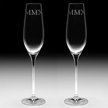 Pair Of Champagne Flutes Engraved With MMXII