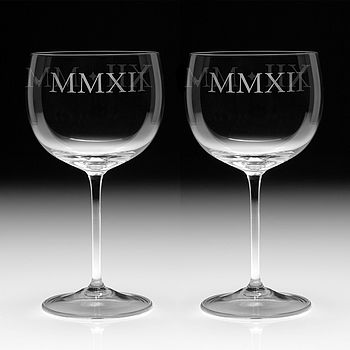 Pair Of Wine Goblets Etched With MMXII