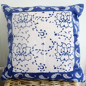 Rajastani Blue Floral Cushion - bedroom