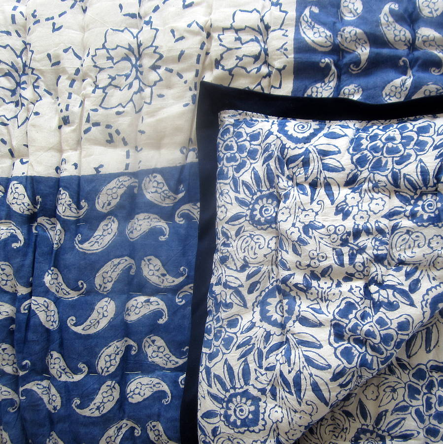 Block Printed Blue Rajastani Quilt Single And King Size By
