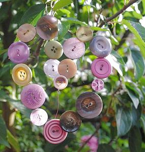 Heart Shaped Button Garden Hanger - hanging decorations