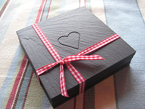 Heart Engraved Slate Coasters - tableware