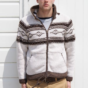 Men's Hand Knitted Patterned Hooded Cardigan