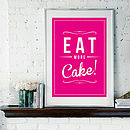 'Eat More Cake' Retro Fine Art Print