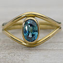 Handmade Blue Zircon Ring In 18ct Gold Size M