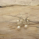 White pearl and quartz cluster earrings