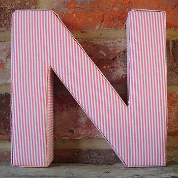 Pink Striped Fabric Alphabet Wall Letters