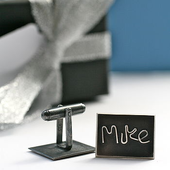Personalised Silver Name Cufflinks - Black Finish