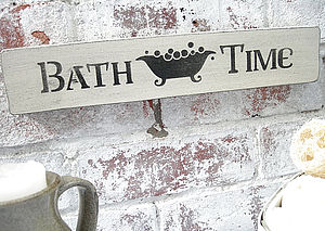 Bathroom Sign Wooden Painted Plaque - outdoor decorations