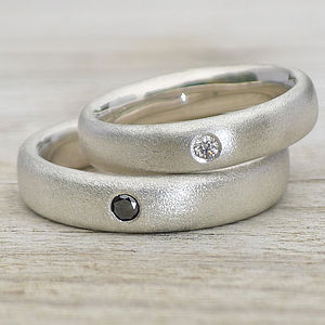 Handmade Frosted Silver Diamond Wedding Rings - rings