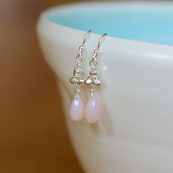 Pink Opal & Silver Earrings