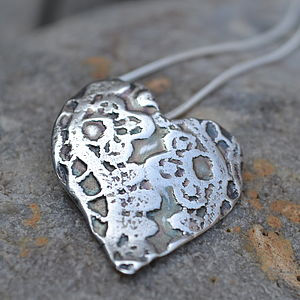 Handmade Silver Lace Heart Necklace