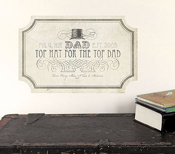'Top Dad' Fabric Wall Sticker Sign