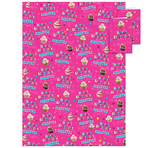 Birthday Cupcake Personalised Gift Wrap - wrapping paper