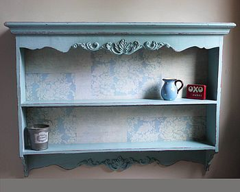 Carved French Blue Wall Shelves