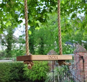 Small Oak And Rope Garden Swing - garden furniture