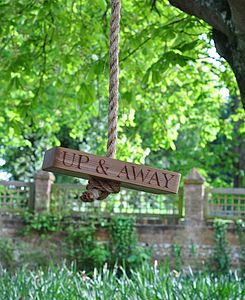 'Up & Away' Oak And Rope Swing - garden furniture