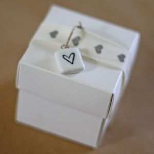 Ceramic Heart Tag - ribbon & wrap
