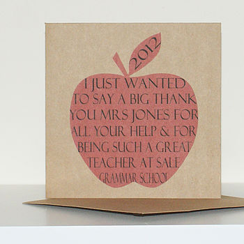 Personalised Thank You Teacher Apple Card