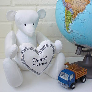 Personalised Handmade Cotton Teddy Bear - soft toys & dolls