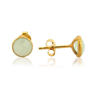 Aqua Chalcedony And Gold Stud Earrings - earrings
