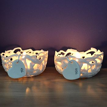 'Mr' And 'Mrs' Porcelain Tea Light Holders