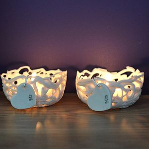 'Mr' And 'Mrs' Porcelain Tea Light Holders - bedroom